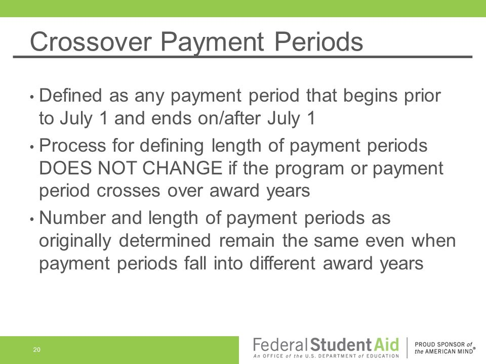 Crossover Payment Periods Defined as any payment period that begins prior to July 1 and ends on/after July 1 Process for defining length of payment periods DOES NOT CHANGE if the program or payment period crosses over award years Number and length of payment periods as originally determined remain the same even when payment periods fall into different award years 20