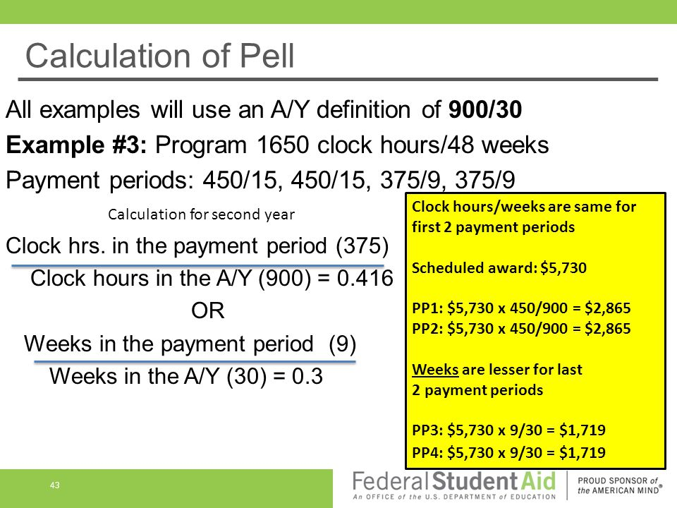 Calculation of Pell All examples will use an A/Y definition of 900/30 Example #3: Program 1650 clock hours/48 weeks Payment periods: 450/15, 450/15, 375/9, 375/9 Clock hrs.