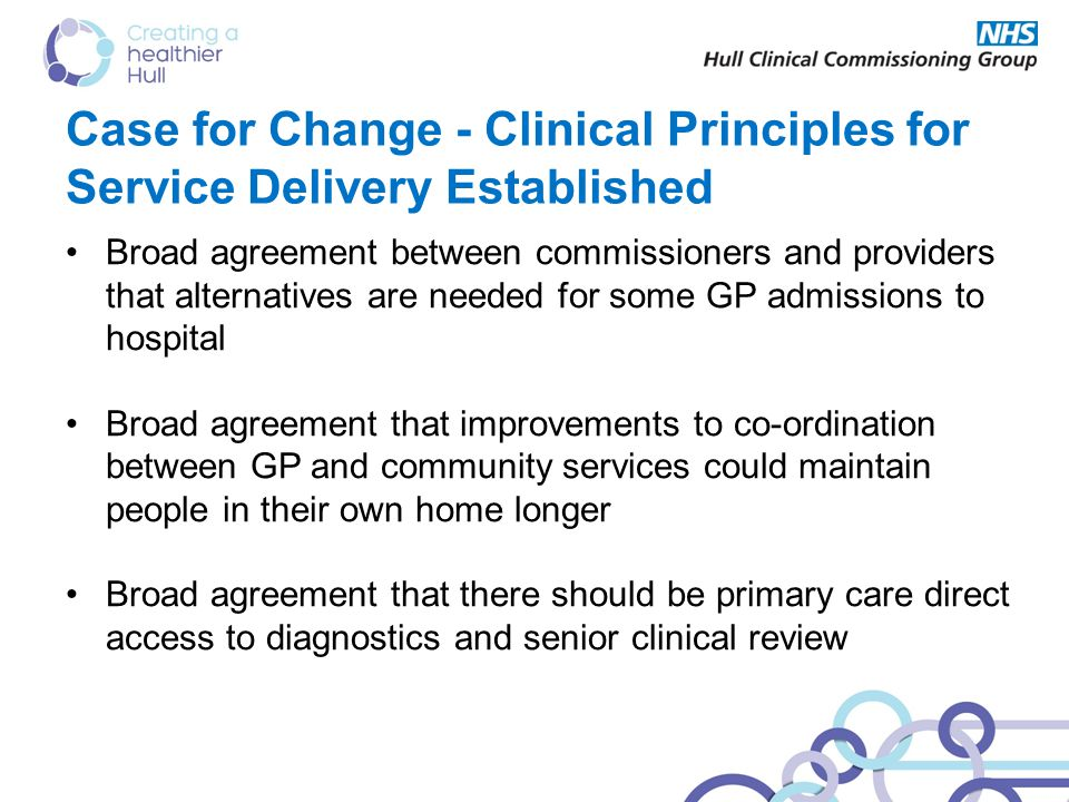 Case for Change - Clinical Principles for Service Delivery Established Broad agreement between commissioners and providers that alternatives are needed for some GP admissions to hospital Broad agreement that improvements to co-ordination between GP and community services could maintain people in their own home longer Broad agreement that there should be primary care direct access to diagnostics and senior clinical review