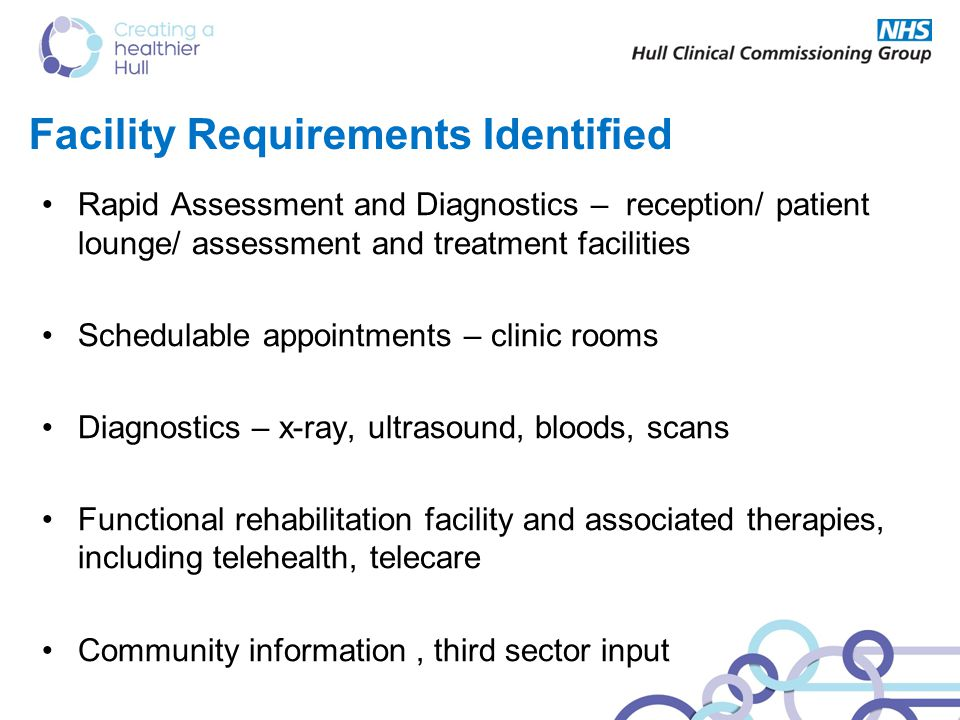 Facility Requirements Identified Rapid Assessment and Diagnostics – reception/ patient lounge/ assessment and treatment facilities Schedulable appointments – clinic rooms Diagnostics – x-ray, ultrasound, bloods, scans Functional rehabilitation facility and associated therapies, including telehealth, telecare Community information, third sector input
