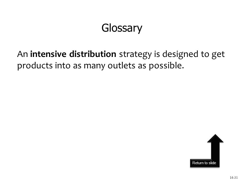 Return to slide An intensive distribution strategy is designed to get products into as many outlets as possible.