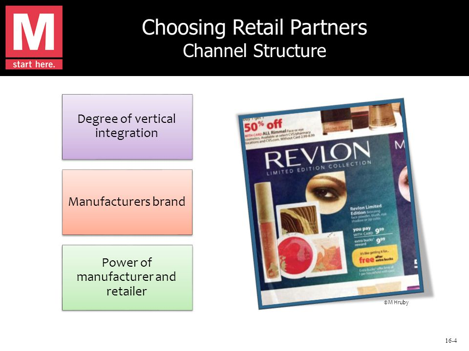 16-4 Choosing Retail Partners Channel Structure Degree of vertical integration Manufacturers brand Power of manufacturer and retailer ©M Hruby