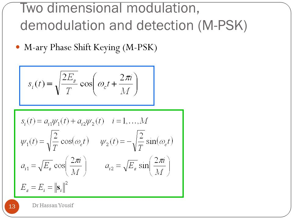 Two dimensional modulation, demodulation and detection (M-PSK) ‏ Dr Hassan Yousif 13 M-ary Phase Shift Keying (M-PSK) ‏
