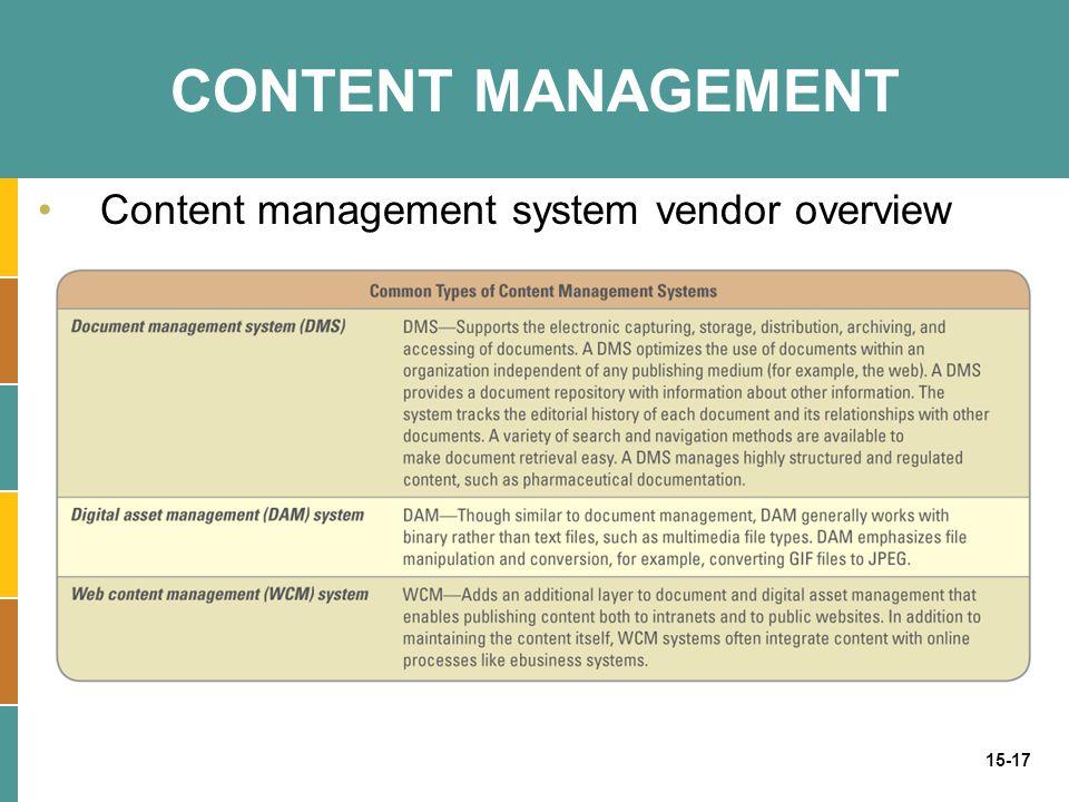 15-17 CONTENT MANAGEMENT Content management system vendor overview