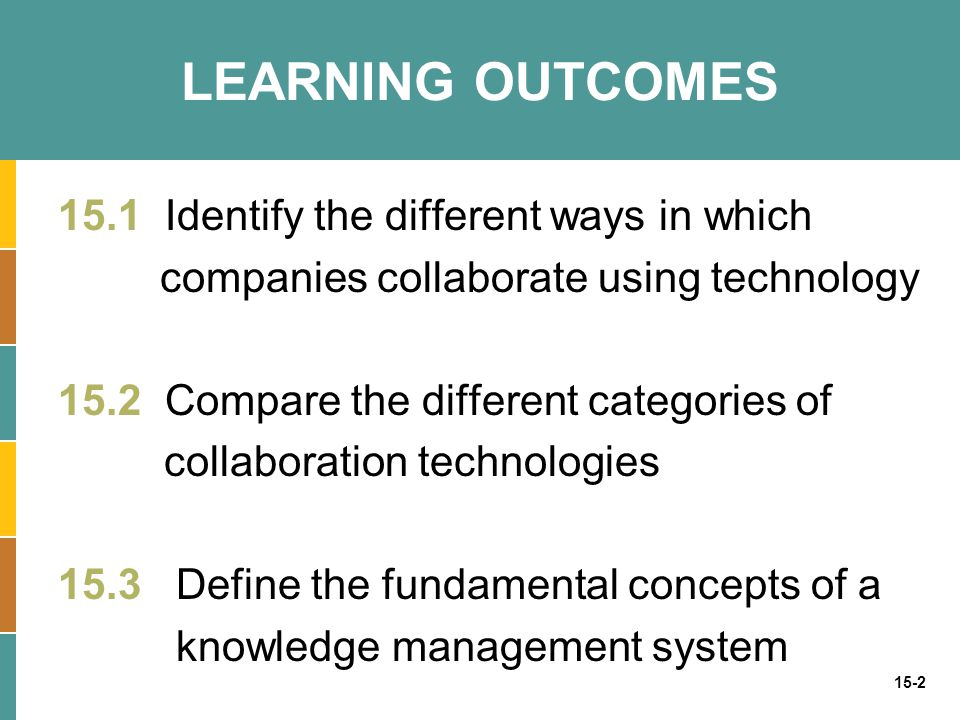 15-2 LEARNING OUTCOMES 15.1 Identify the different ways in which companies collaborate using technology 15.2 Compare the different categories of colla