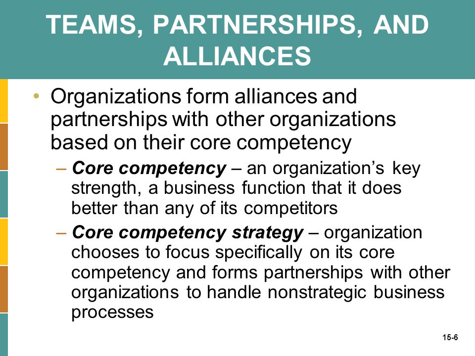 15-6 TEAMS, PARTNERSHIPS, AND ALLIANCES Organizations form alliances and partnerships with other organizations based on their core competency –Core co