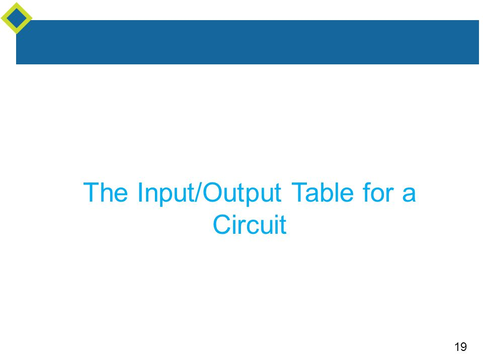 19 The Input/Output Table for a Circuit