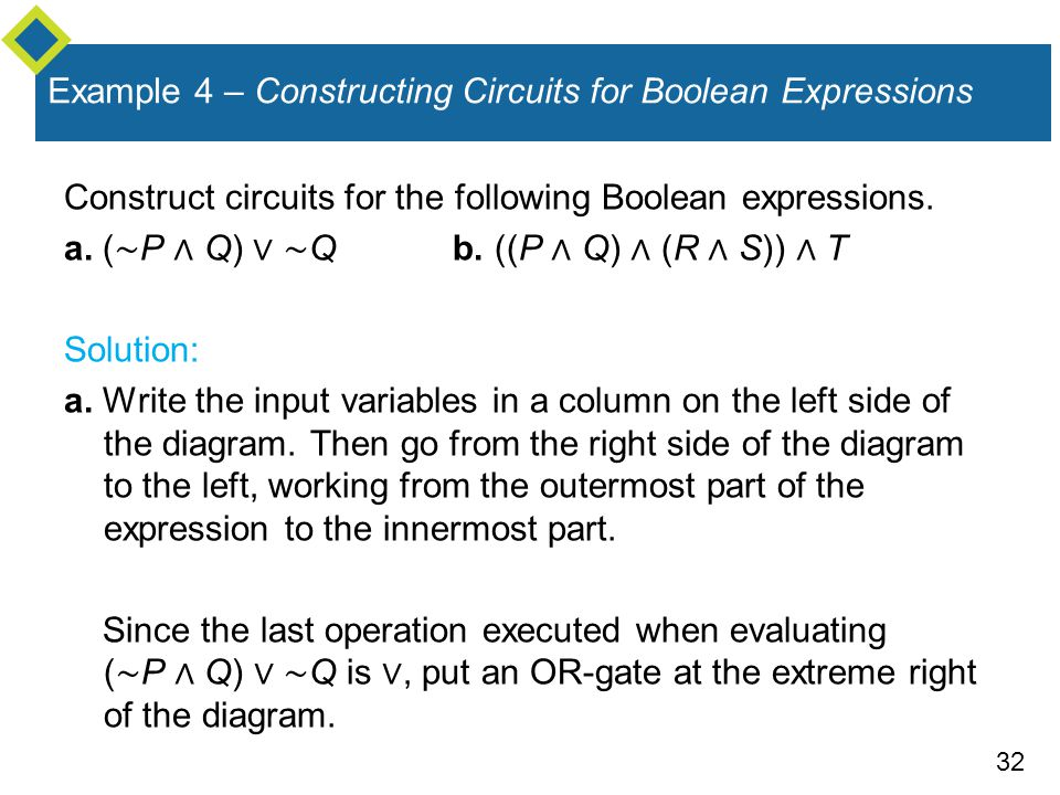 32 Example 4 – Constructing Circuits for Boolean Expressions Construct circuits for the following Boolean expressions.