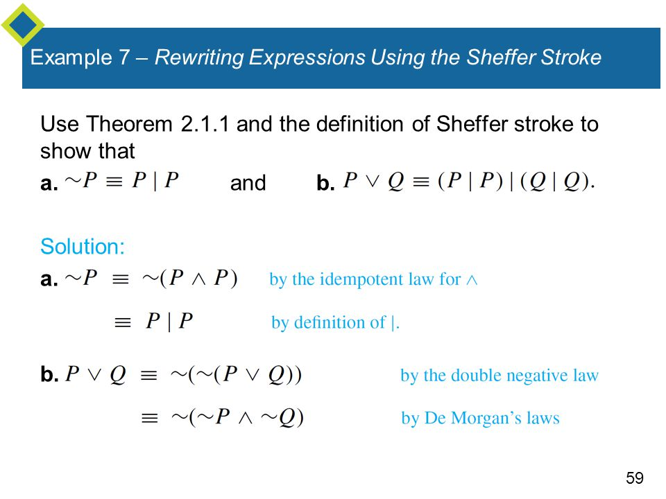 59 Example 7 – Rewriting Expressions Using the Sheffer Stroke Use Theorem and the definition of Sheffer stroke to show that a.