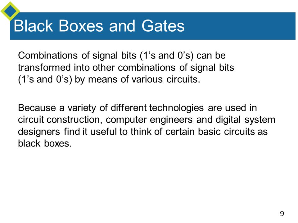 9 Combinations of signal bits (1's and 0's) can be transformed into other combinations of signal bits (1's and 0's) by means of various circuits.