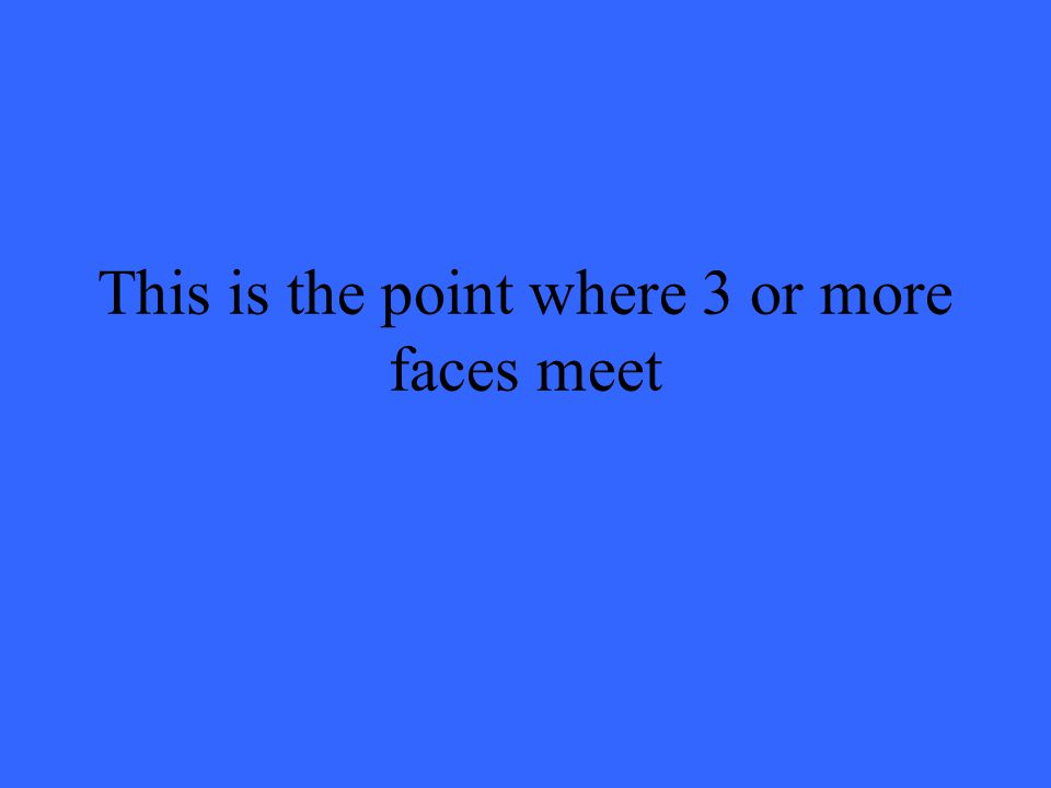 This is the point where 3 or more faces meet