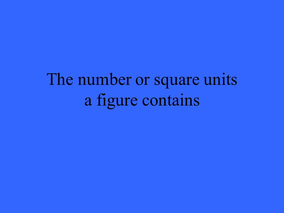 The number or square units a figure contains
