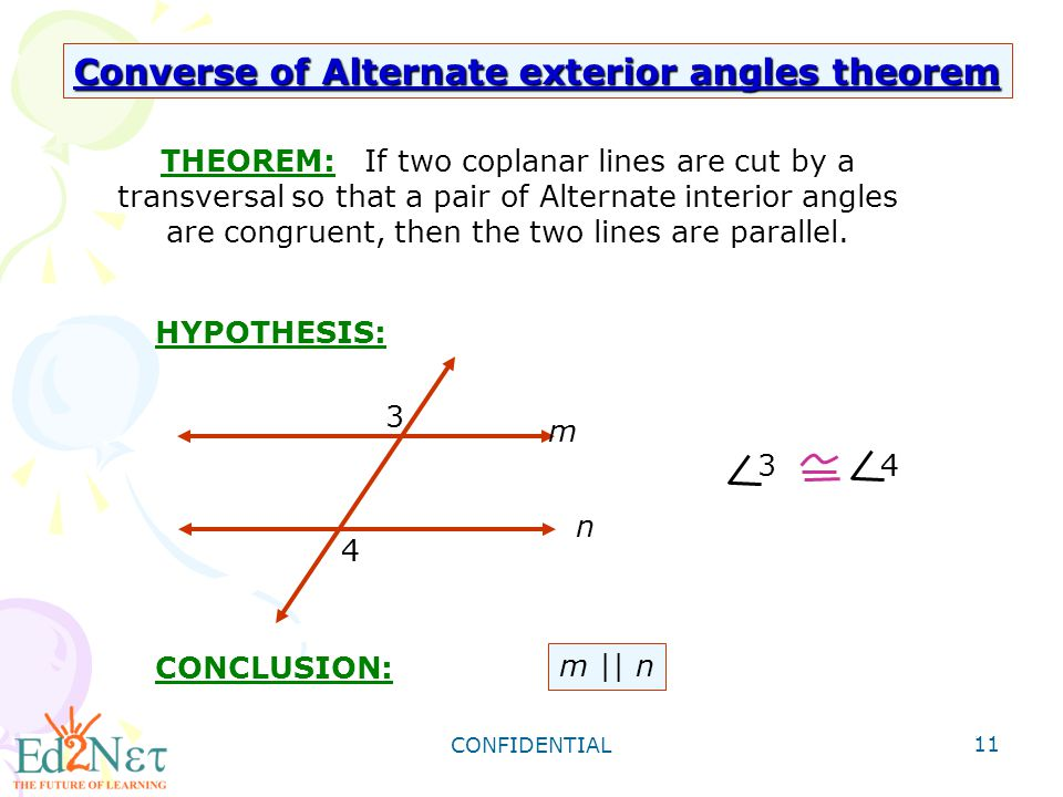 CONFIDENTIAL 11 THEOREM: If Two Coplanar Lines Are Cut By A Transversal So  That A