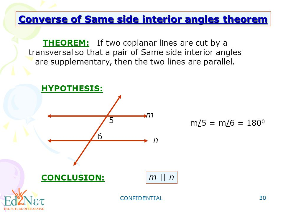 CONFIDENTIAL 30 THEOREM: If Two Coplanar Lines Are Cut By A Transversal So  That A