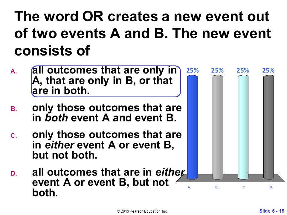 The word OR creates a new event out of two events A and B.
