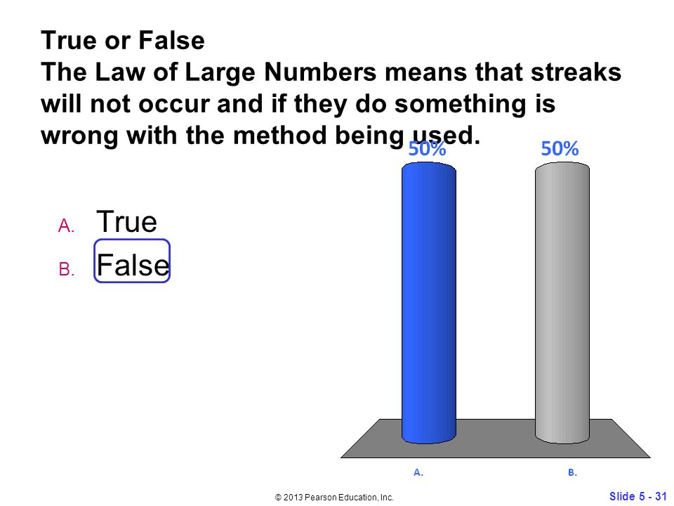 True or False The Law of Large Numbers means that streaks will not occur and if they do something is wrong with the method being used.