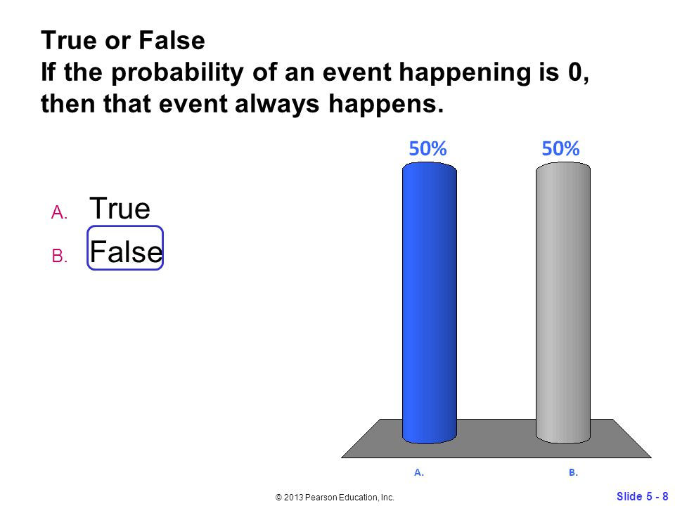 True or False If the probability of an event happening is 0, then that event always happens.