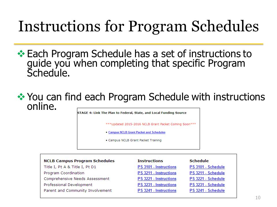 Instructions for Program Schedules  Each Program Schedule has a set of instructions to guide you when completing that specific Program Schedule.