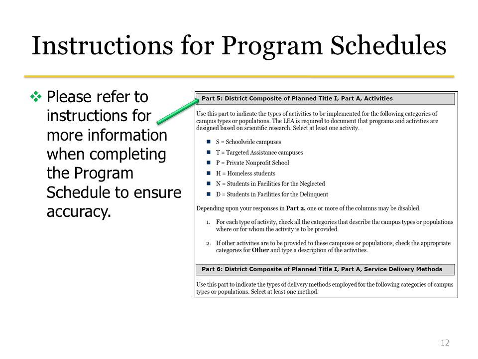 Instructions for Program Schedules  Please refer to instructions for more information when completing the Program Schedule to ensure accuracy.