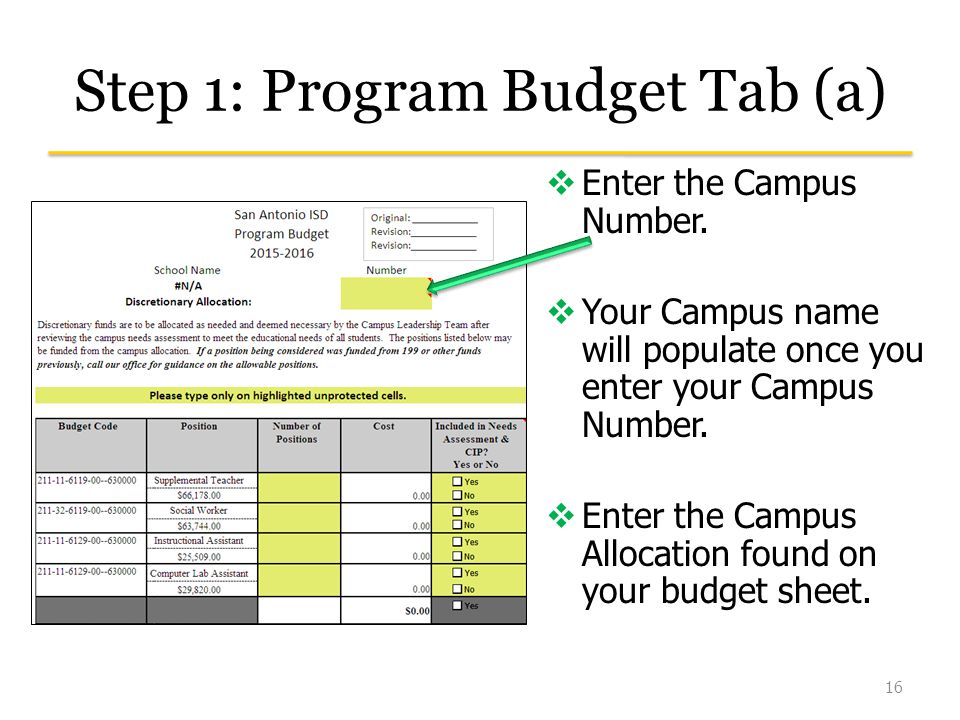 Step 1: Program Budget Tab (a) 16  Enter the Campus Number.