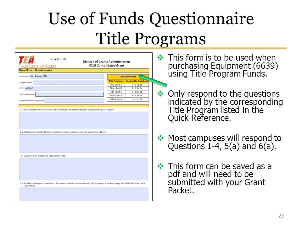Use of Funds Questionnaire Title Programs  This form is to be used when purchasing Equipment (6639) using Title Program Funds.