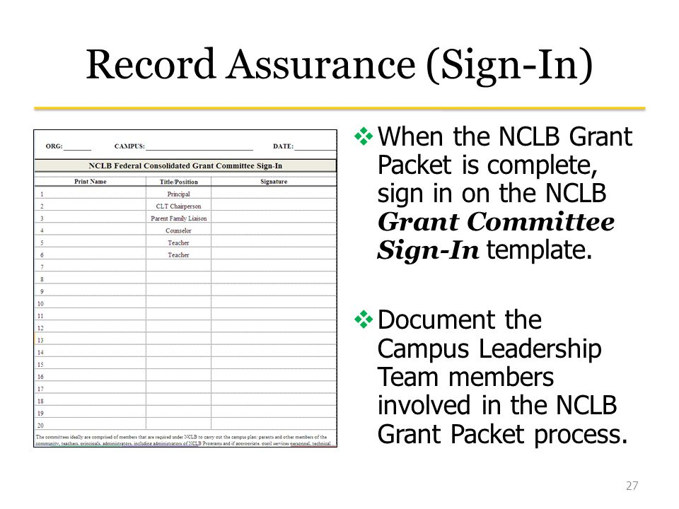 Record Assurance (Sign-In)  When the NCLB Grant Packet is complete, sign in on the NCLB Grant Committee Sign-In template.