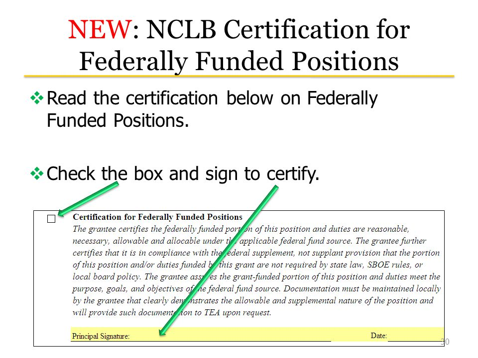 NEW: NCLB Certification for Federally Funded Positions  Read the certification below on Federally Funded Positions.