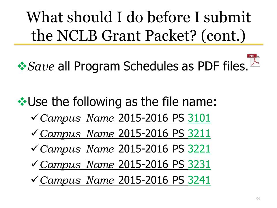 What should I do before I submit the NCLB Grant Packet.