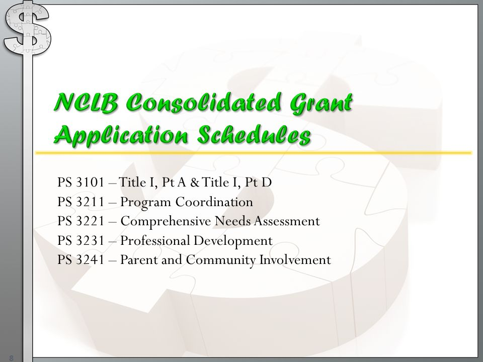 8 PS 3101 – Title I, Pt A & Title I, Pt D PS 3211 – Program Coordination PS 3221 – Comprehensive Needs Assessment PS 3231 – Professional Development PS 3241 – Parent and Community Involvement