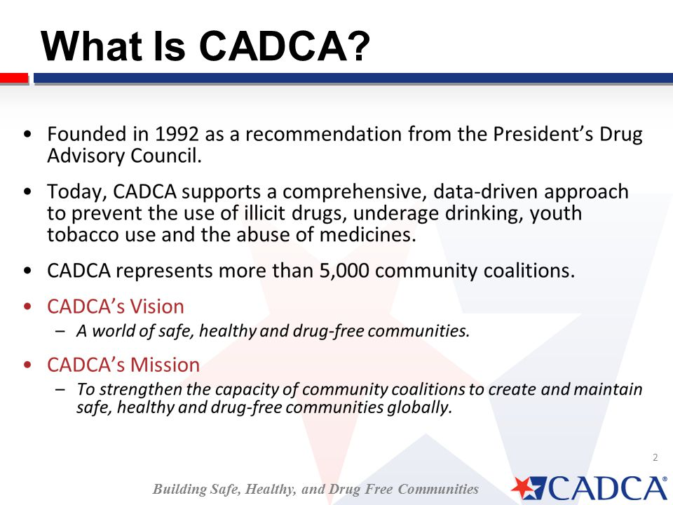 2 What Is CADCA Building Safe, Healthy, and Drug Free Communities