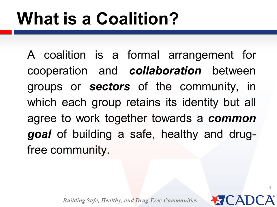 3 What is a Coalition Building Safe, Healthy, and Drug Free Communities