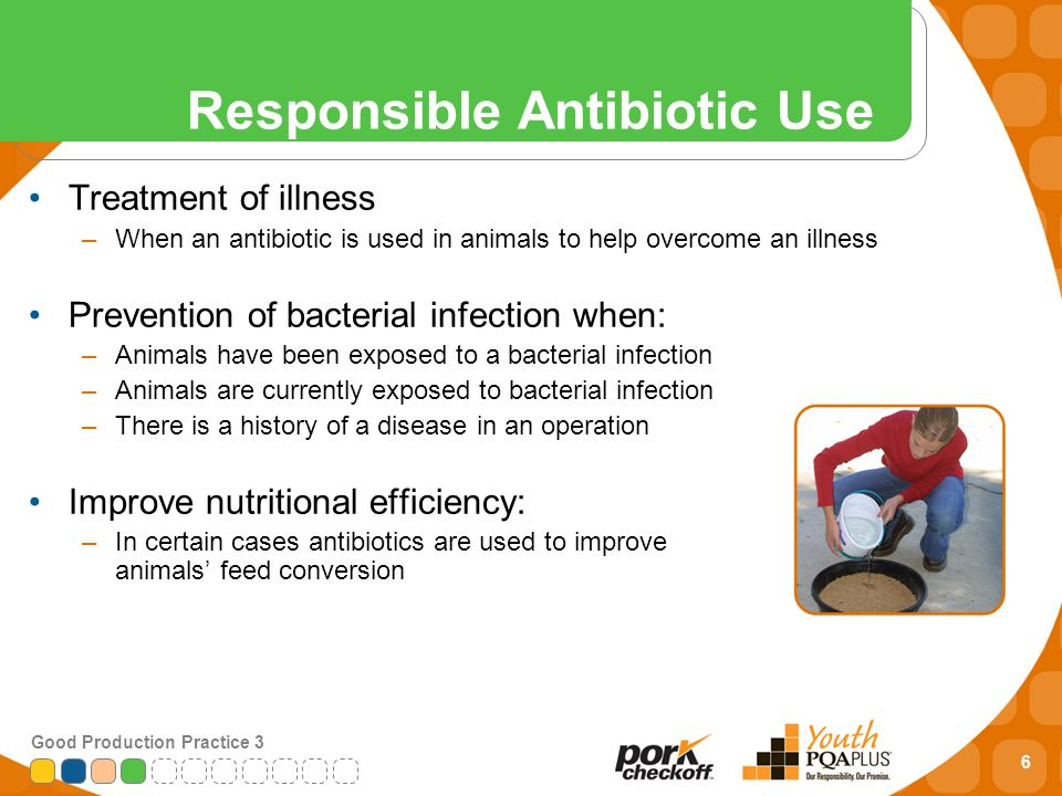 6 Good Production Practice 3 Responsible Antibiotic Use Treatment of illness –When an antibiotic is used in animals to help overcome an illness Prevention of bacterial infection when: –Animals have been exposed to a bacterial infection –Animals are currently exposed to bacterial infection –There is a history of a disease in an operation Improve nutritional efficiency: –In certain cases antibiotics are used to improve animals' feed conversion