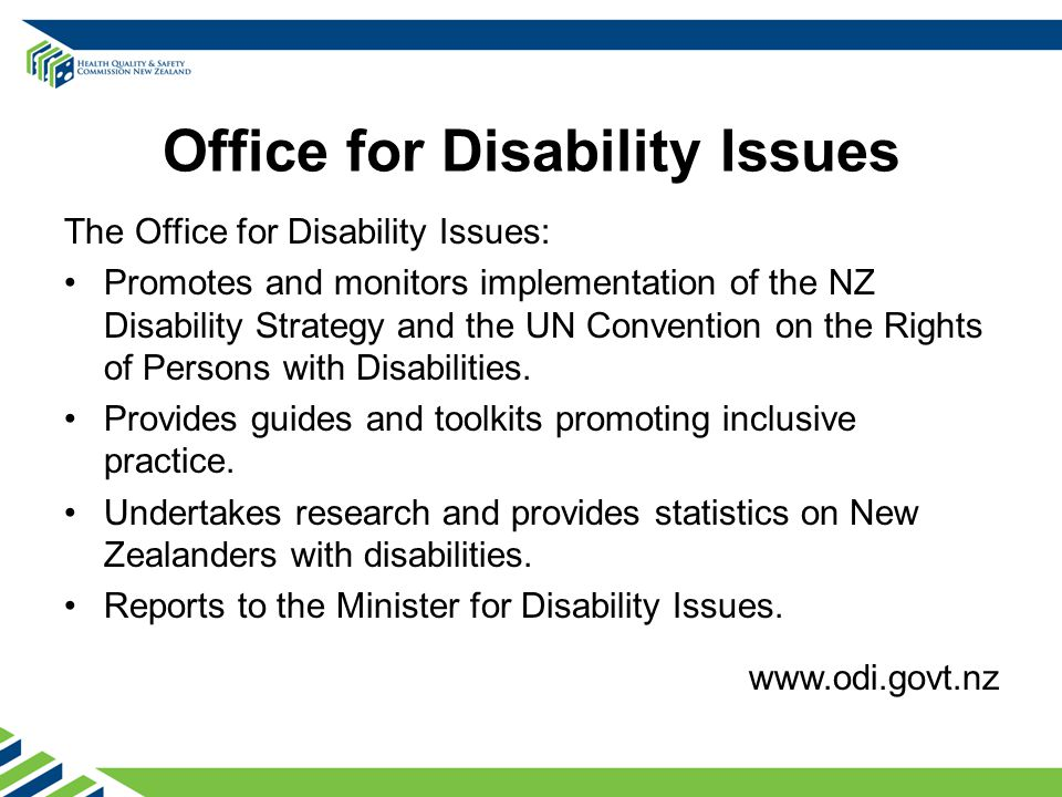 Office for Disability Issues The Office for Disability Issues: Promotes and monitors implementation of the NZ Disability Strategy and the UN Convention on the Rights of Persons with Disabilities.