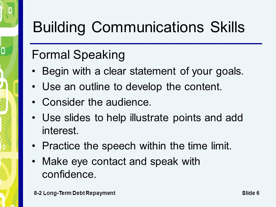 Slide 6 Building Communications Skills 8-2 Long-Term Debt Repayment Formal Speaking Begin with a clear statement of your goals.