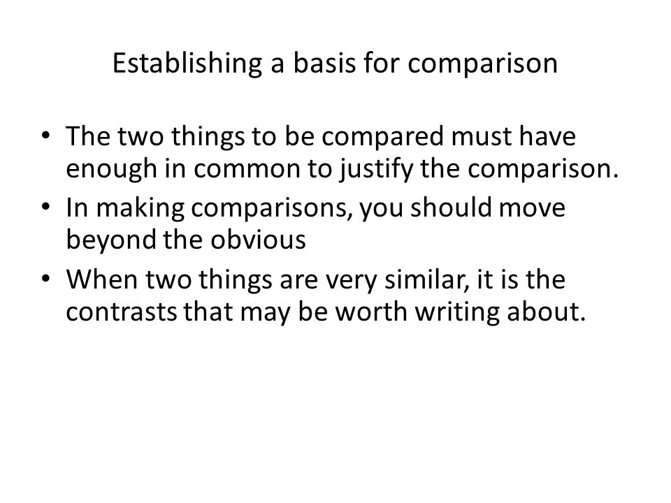 things compare contrast essay