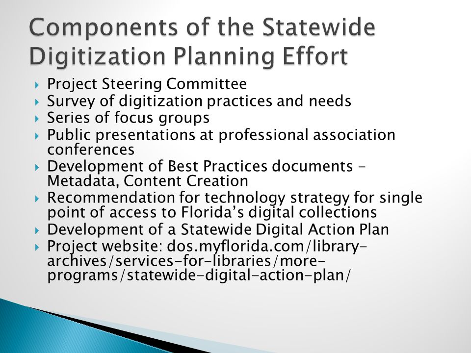  Project Steering Committee  Survey of digitization practices and needs  Series of focus groups  Public presentations at professional association conferences  Development of Best Practices documents - Metadata, Content Creation  Recommendation for technology strategy for single point of access to Florida's digital collections  Development of a Statewide Digital Action Plan  Project website: dos.myflorida.com/library- archives/services-for-libraries/more- programs/statewide-digital-action-plan/