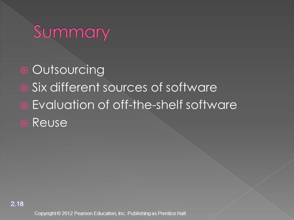  Outsourcing  Six different sources of software  Evaluation of off-the-shelf software  Reuse Copyright © 2012 Pearson Education, Inc.