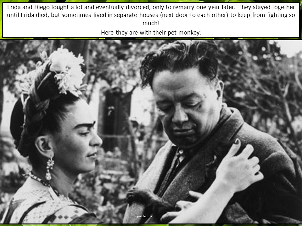Frida and Diego fought a lot and eventually divorced, only to remarry one year later.