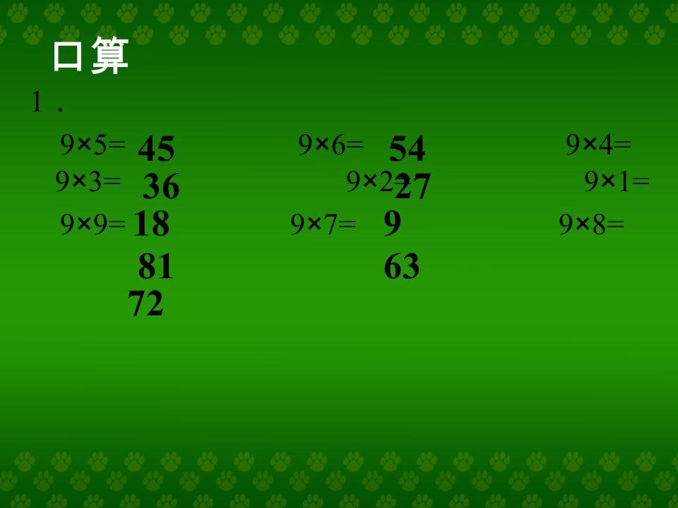9 × 1 = 9 × 2 = 9 × 3 = 9 × 7 = 9 × 4 = 9 × 5 = 9 × 6 = 9 × 8 = 18 9 27 36 45 54 63 72 9 的 乘 法口诀 9×9 = 81