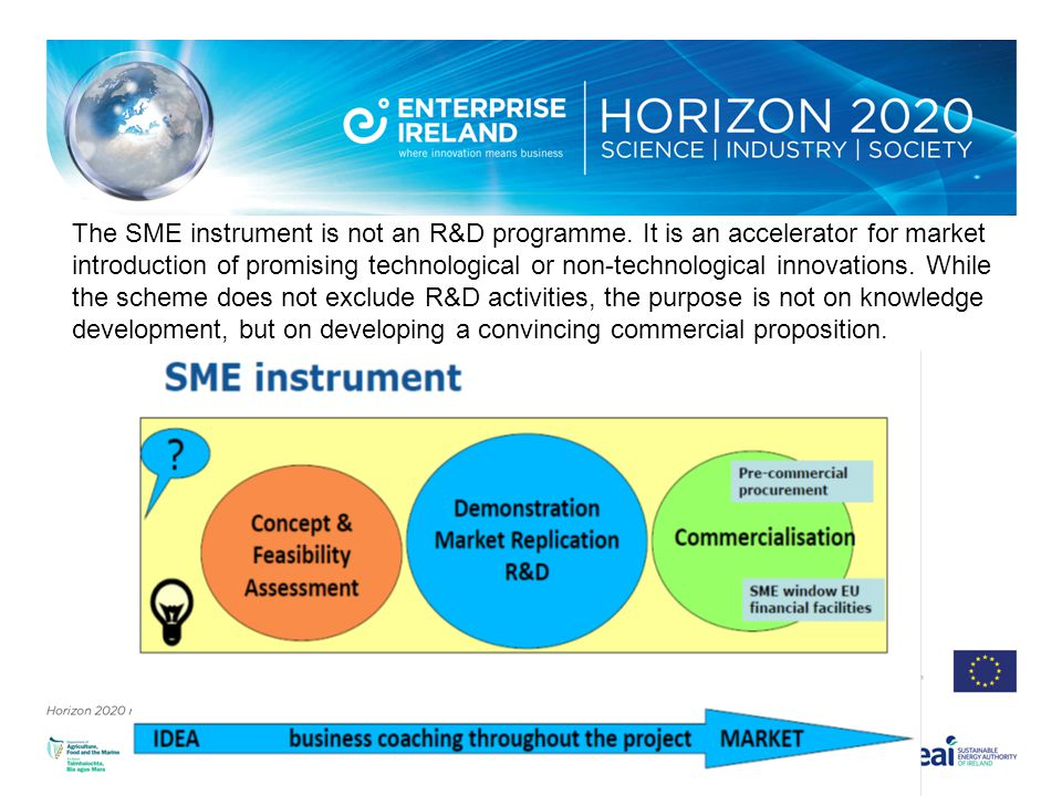 The SME instrument is not an R&D programme.