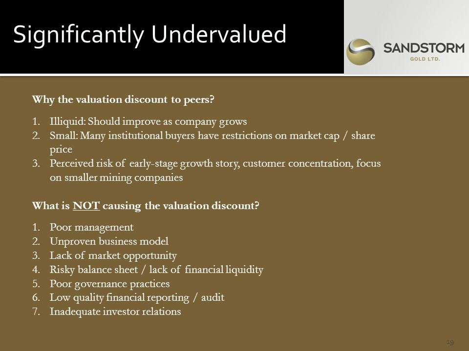 Significantly Undervalued 19 Why the valuation discount to peers.