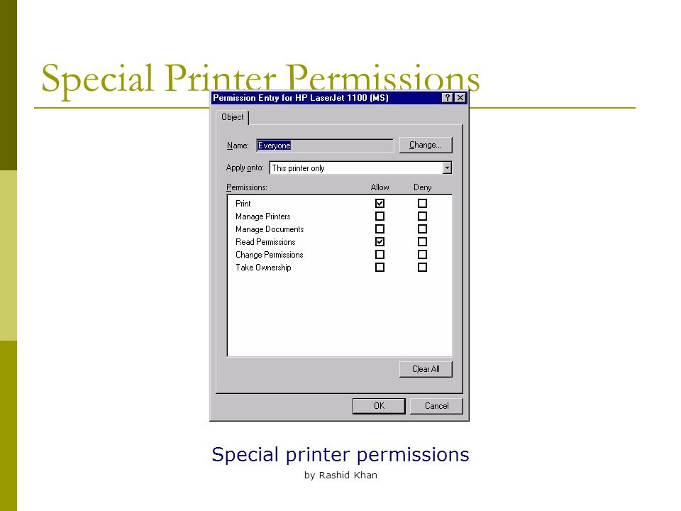 by Rashid Khan Special Printer Permissions Special printer permissions