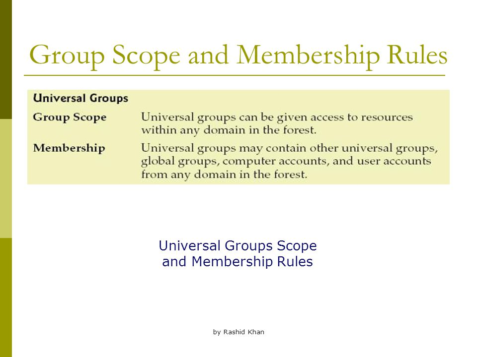 by Rashid Khan Group Scope and Membership Rules Universal Groups Scope and Membership Rules