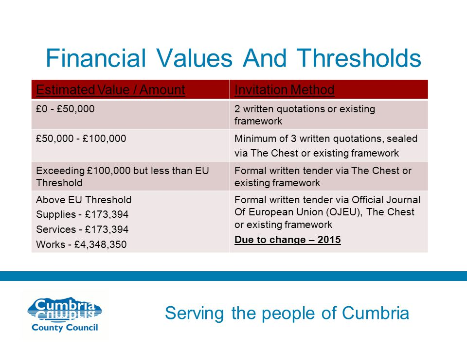 Serving the people of Cumbria Do not use fonts other than Arial for your presentations Financial Values And Thresholds Estimated Value / AmountInvitation Method £0 - £50,0002 written quotations or existing framework £50,000 - £100,000Minimum of 3 written quotations, sealed via The Chest or existing framework Exceeding £100,000 but less than EU Threshold Formal written tender via The Chest or existing framework Above EU Threshold Supplies - £173,394 Services - £173,394 Works - £4,348,350 Formal written tender via Official Journal Of European Union (OJEU), The Chest or existing framework Due to change – 2015