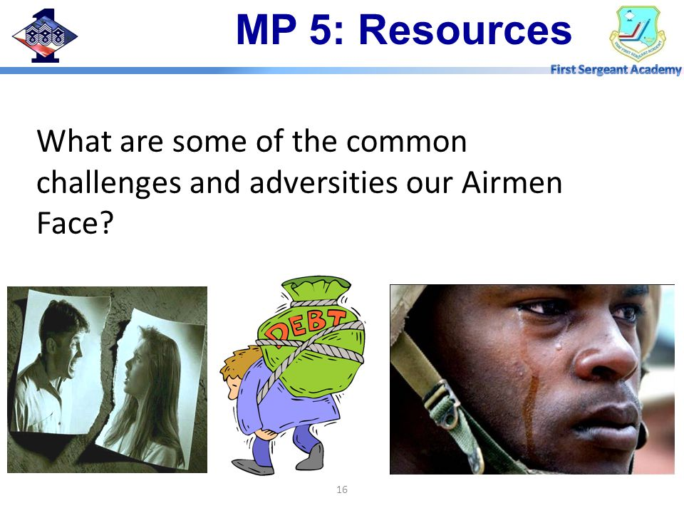 What are some of the common challenges and adversities our Airmen Face 16 MP 5: Resources