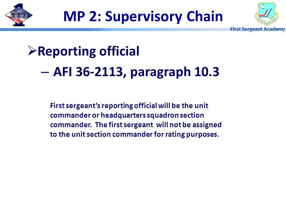MP 2: Supervisory Chain  Reporting official – AFI , paragraph 10.3 First sergeant's reporting official will be the unit commander or headquarters squadron section commander.