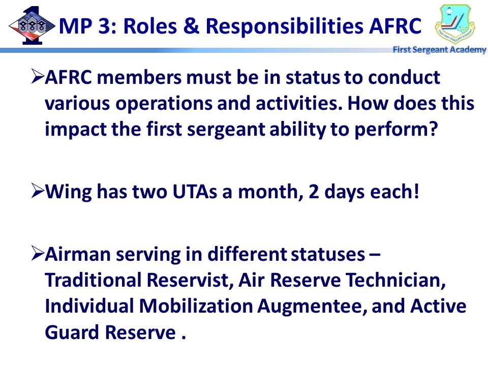  AFRC members must be in status to conduct various operations and activities.