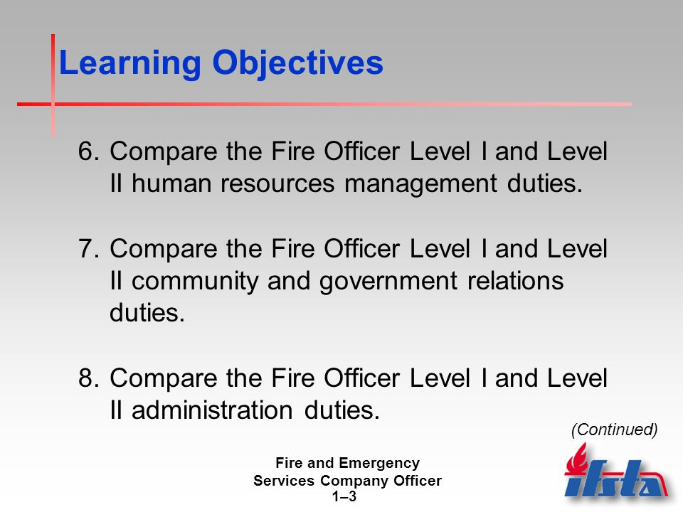 Fire and Emergency Services Company Officer 1–31–3 Learning Objectives 6.Compare the Fire Officer Level I and Level II human resources management duties.