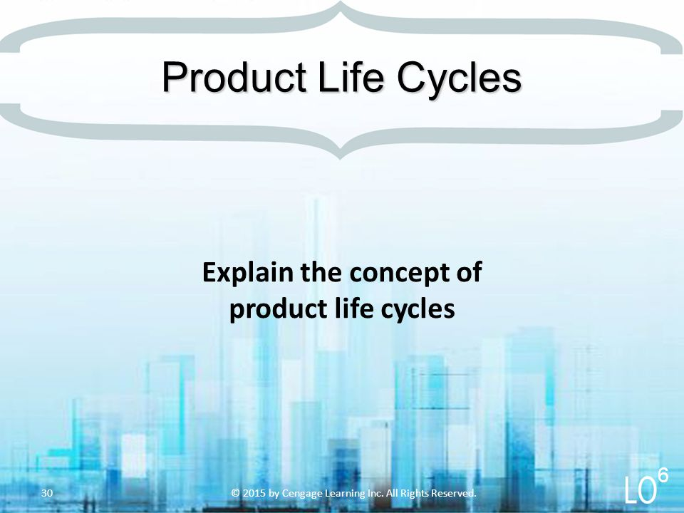 Explain the concept of product life cycles Product Life Cycles © 2015 by Cengage Learning Inc.