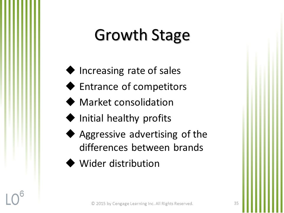 Growth Stage © 2015 by Cengage Learning Inc. All Rights Reserved.